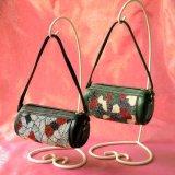 ビーズ編み:皮製円筒型手提げ小物入れ/カラー2色