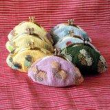 ビーズ編み財布:柄ビーズ:蝶々柄7色【6cm丸口金】