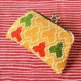 ビーズ編み財布【全面ビーズ-平】毘沙門亀甲柄12cm角