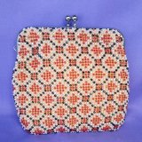 ビーズ編み財布【全面ビーズ-平】かのこ柄10cm角